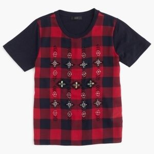 J Crew Embellished Beaded Tartan Plaid T-Shirt